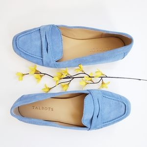 Talbots Blue Suede Penny Loafers